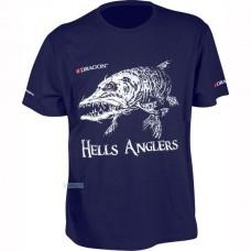 Футболка Dragon Hells Anglers с принтом Щука,темно-синяя/L